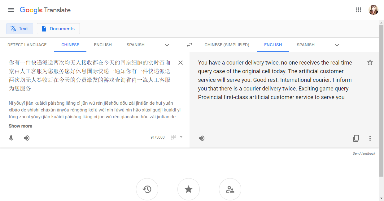 This is a screenshot of a voicemail transcribed and translated into English using Google Translate.